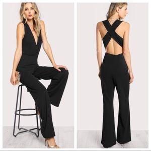 Pants - Elegant Flare Jumpsuit with Criss Cross Back